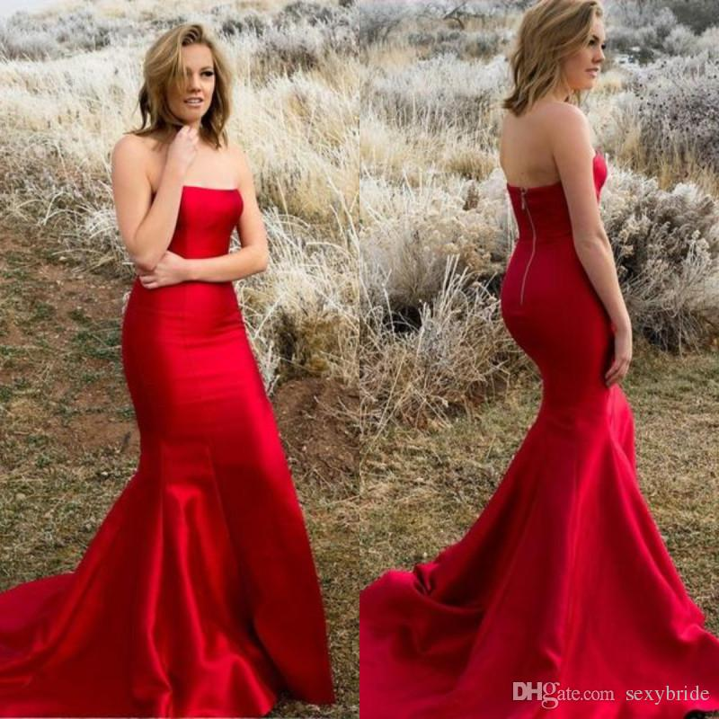 Elegant Red Satin Mermaid Evening Formal Dresses 2018 Sweep Train Strapless Formal Party Mermaid Prom Dress Evening Gowns For Pageant