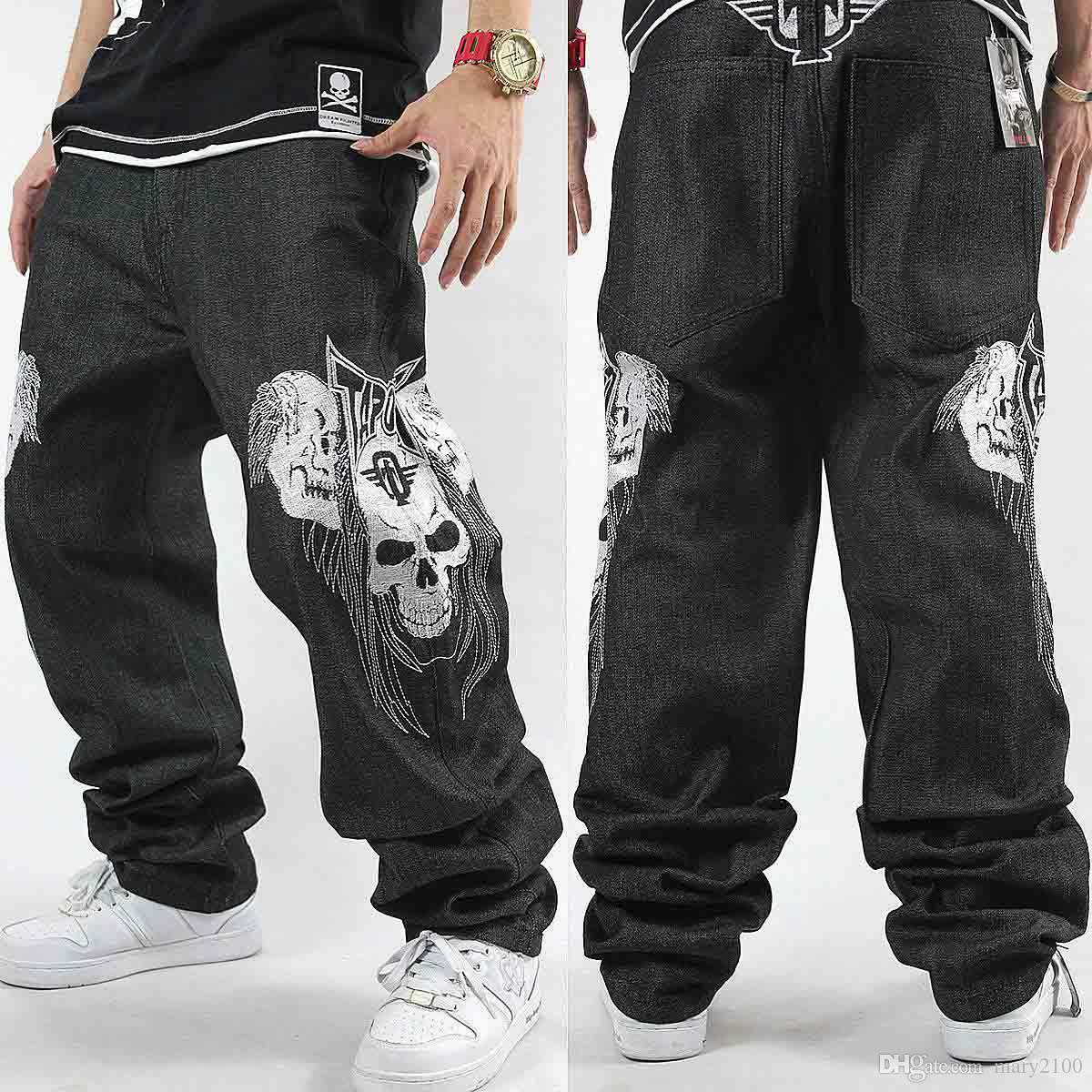 HIPHOP Street dance jeans marea hombres bordado cráneo Street jeans de la motocicleta Hip Hop Skateboard Jeans para hombres Definitivamente pantalones de baile disco