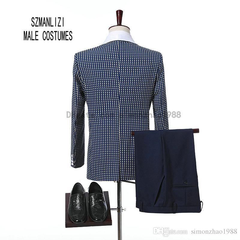 Custom Made 2018 Classique Design Slim Fit Bleu Blanc Points Châle Revers Hommes Dîner De Soirée Costumes De Mariée Smokings Garçons D'honneur Costumes De Mariage