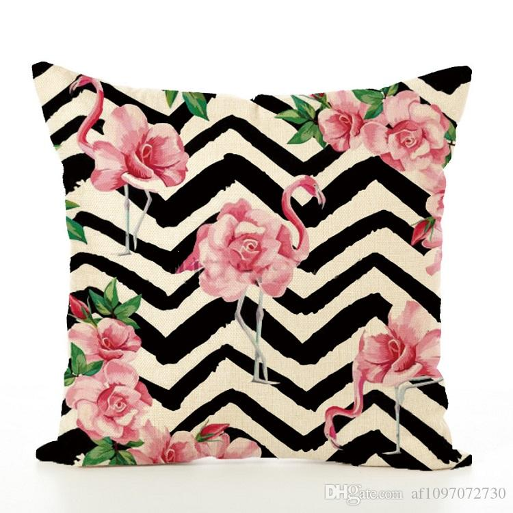 New Pillow Cover Hot Pink Flamingo Pillowcase Digital Printing Linen Cushion Cover Cotton Pillow Case Pillowcase