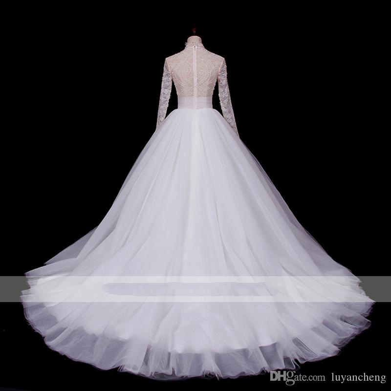 Elegant Long Sleeves Lace Wedding Dresses 2019 Sexy See Through Top High Neck Beaded Pearls Vintage A Line Bridal Wedding Gowns Plus Size
