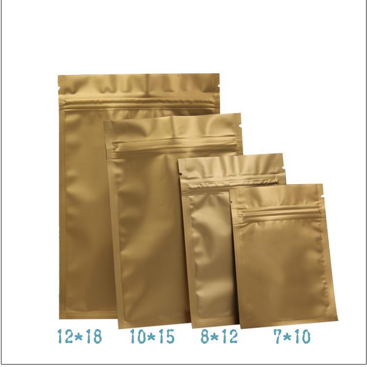 c759ce589 Compre 100 Unids / Lote Mate Oro Aluminio Ziplock Bolsa Cremallera  Resellable Paquete De Válvula Bolsas Café En Polvo Nueces Al Por Menor  Nuevo Estilo A ...