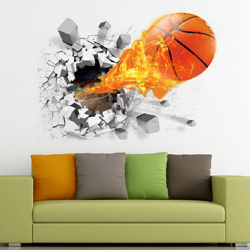 2018 Hot New The World Cup 3D Broken Wall Football TV Background Wall Decoration Removable Stick Cute Wall Art Decoration