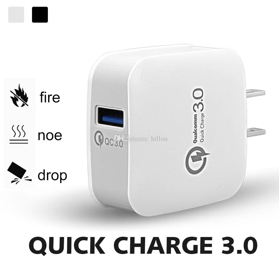 Q3 Fast Charger Wall charger Adapter with USB Plug Home Travel Plug Power Adapter for iPhone X Galaxy S9 Huawei P20 Pro without Packaging