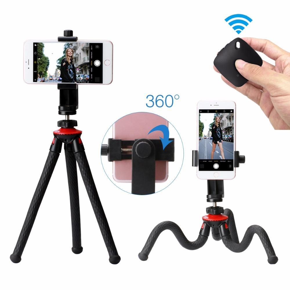 watch ec15e 77cd4 Ulanzi Phone Flexible Tripod with Bluetooth Shutter Remote Portrait  Landscape Mount Adapter Livestream Video For iPhone X 8 7