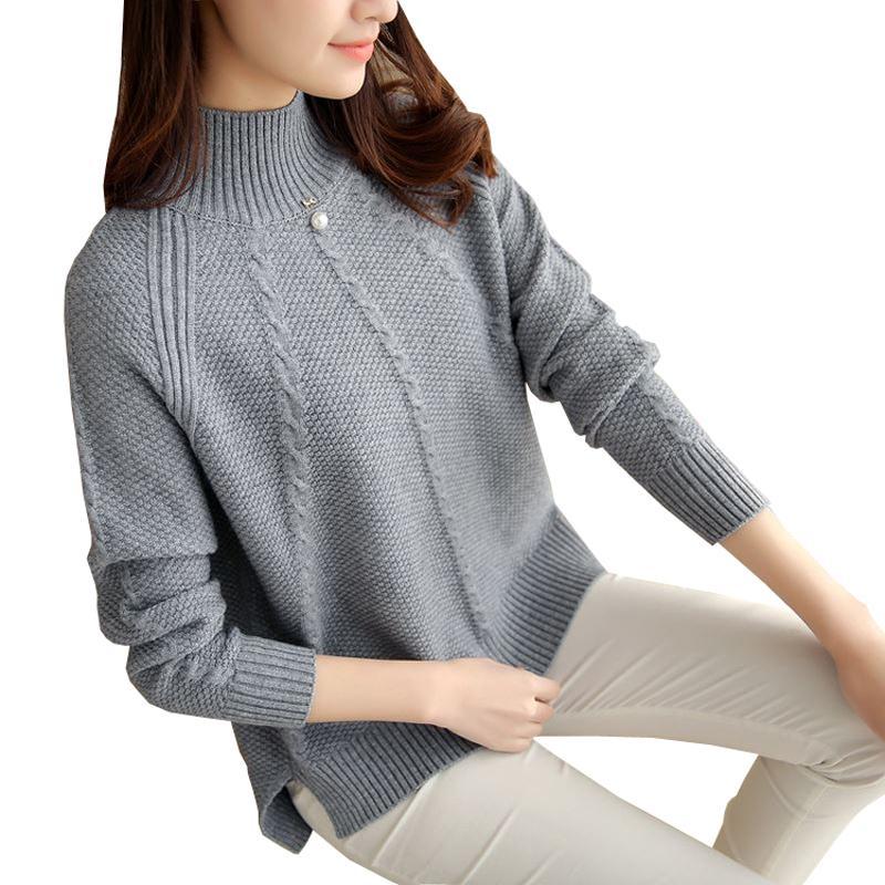 5d95112f9 Compre 2018 Novo Inverno Sueter Mujer Coreano Solto Grande Tamanho Mulheres  Malhas De Manga Longa Pullover Camisola De Gola Alta Camisas De Malha De  Cety