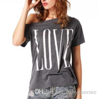Love Letter Print T Shirt Womens Sexy Off Shoulder Tops Tees Short Sleeve Causal Blouses Leisure Tshirts For Women