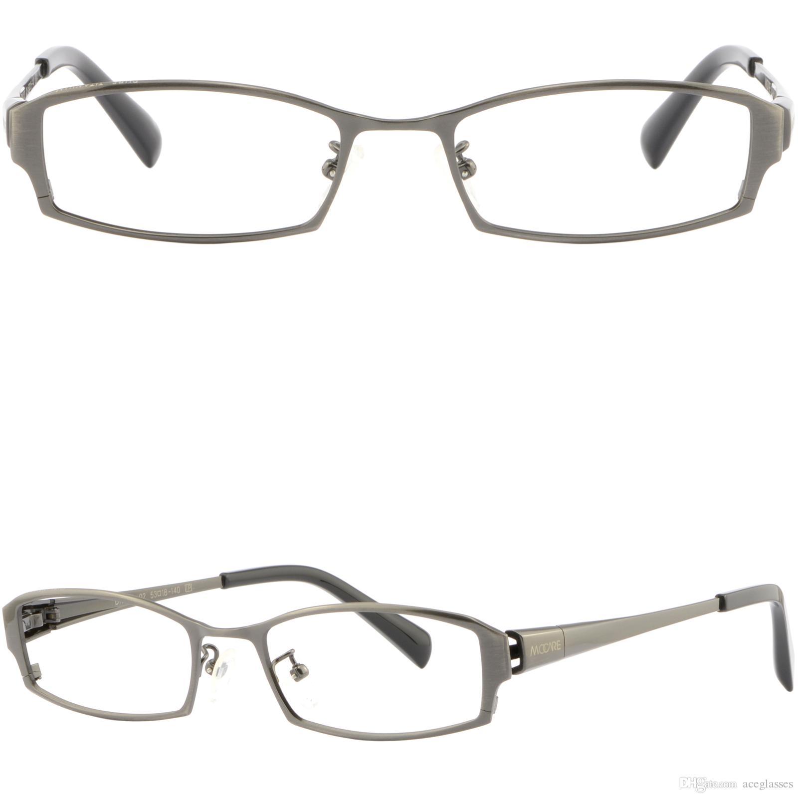 ce4e990b8109 Mens Womens Metal Titanium Frames Small Metallic Prescription Glasses Gray  Grey Eyeglasses Frame Eyewear Frames From Aceglasses
