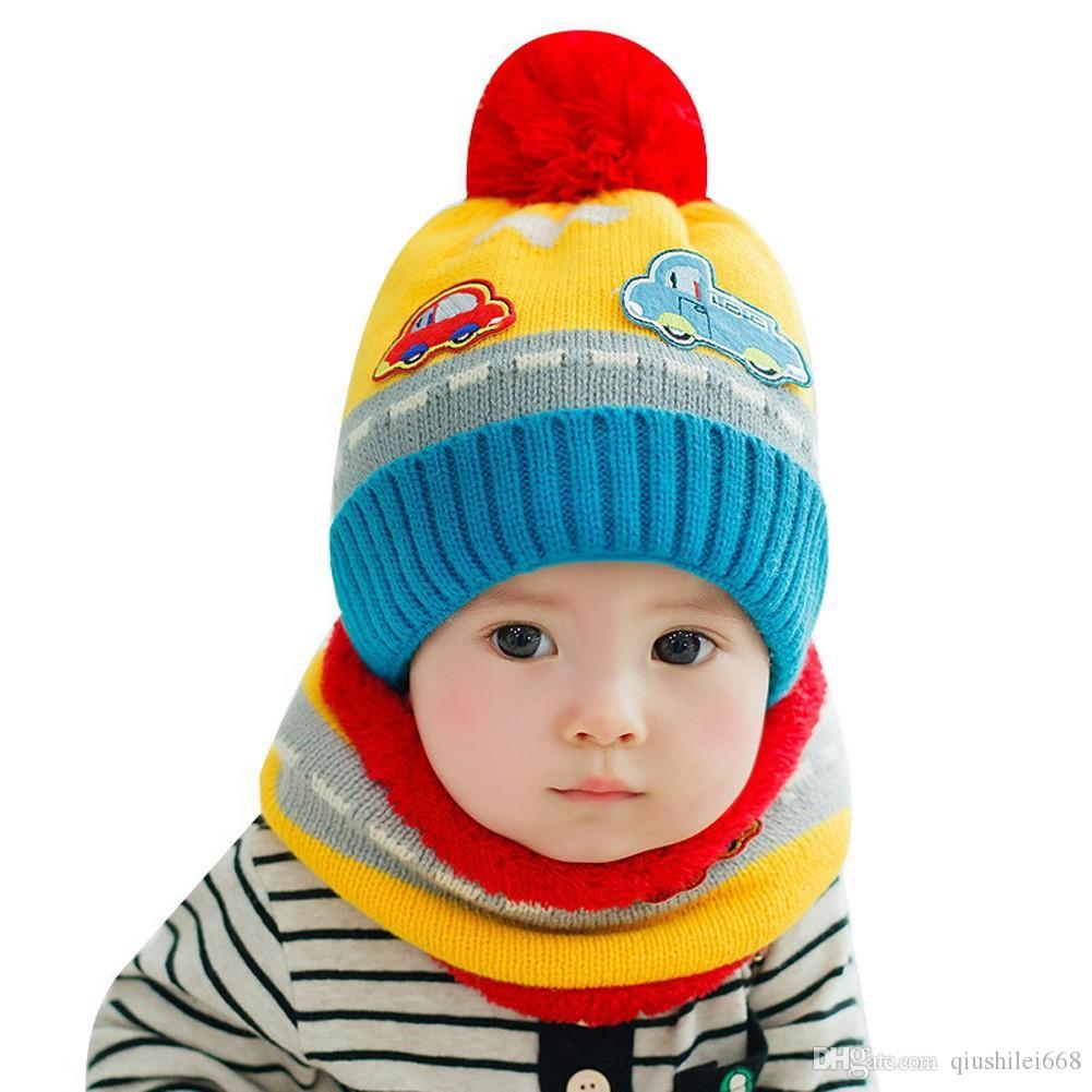 New Cute Baby Girl Boy Knitted Hat Scarf Set Car Pattern Fleece Warm Cap  Neck Warmer Two Piece Set UK 2019 From Qiushilei668 00492168866b