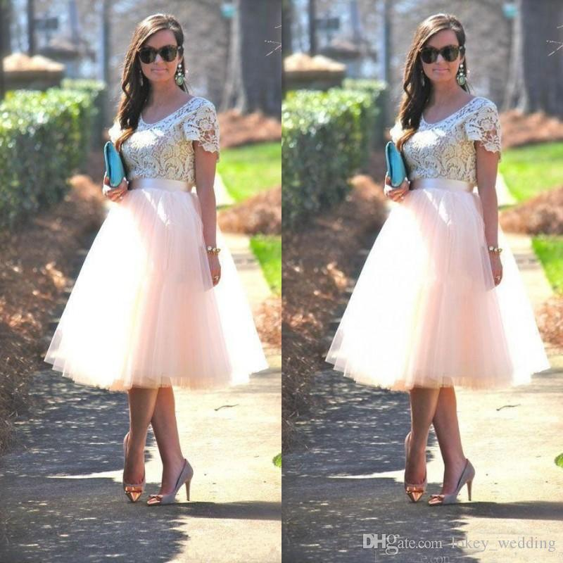 Cheap Prom Party Dresses with Short Sleeves Lace Top Blush Tutu Skirts Tea Length 2017 Formal Evening Gowns Bridesmaid Dresses