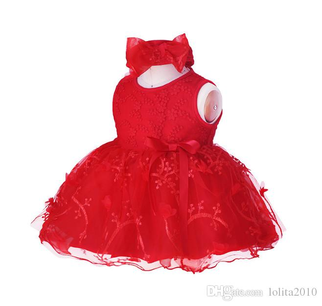 Newborn Baby Girls dress clothing 0-12M red/white/pink lace dresses Girls clothing dress+headband Baby Clothing Infant suits