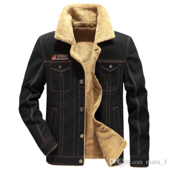 3d2daa255 Men Luxury Designer Sherpa Denim Jacket Oversize Winter Fleece Outerwear  Casual Coats Mens Clothing Tops Plus Size M 5XL Cheap For Sale Mens Coats  Jackets ...