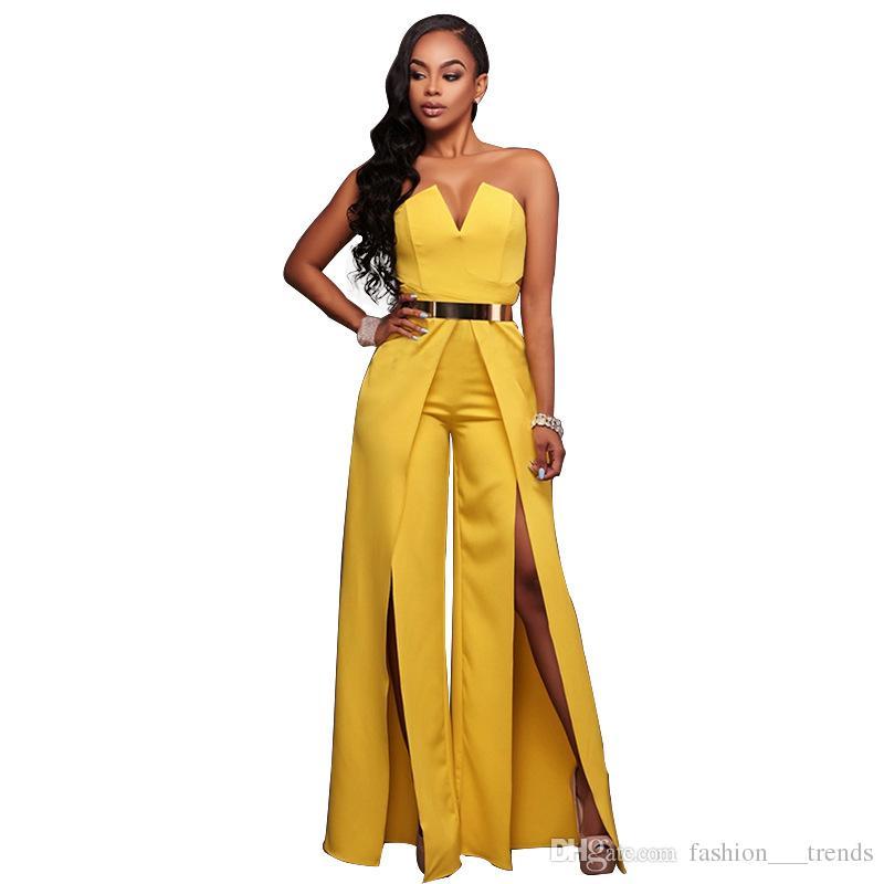 2019 2018 Hollow Long Bodysuit Fashion Women Zipper Jumpsuit Romper Sexy  Wrap The Chest Wide Leg Jumpsuit Party Elegant Wide Leg Pant Body Femme  From ... b6dd91070a