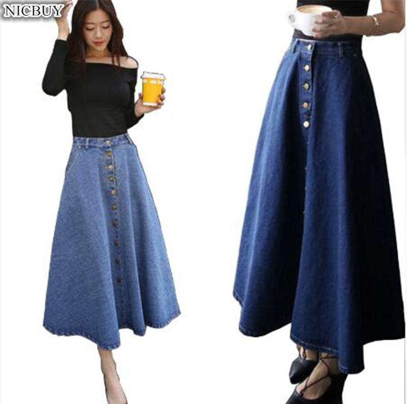 6f5c2fc88b6 Jeans Skirt High Waist Women Button Down Pleated Denim Skirts Plus Size  Long Casual A Line Skirt Summer Cheap Sexy Girls Skirts Canada 2019 From  Vanilla10