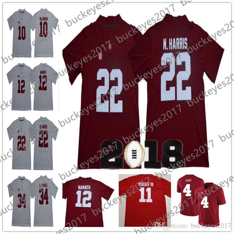 31ad88ff9 Alabama Crimson Tide  4 Jerry Jeudy 11 Henry Ruggs III 22 Najee 34 Damien  Harris Red White 2018 Champions NCAA College Football Jerseys UK 2019 From  ...
