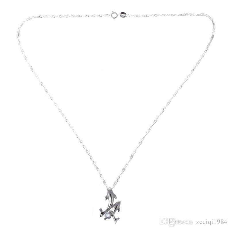 المرأة فتاة الموضة لطيف الفضة مطلي مزدوجة دولفين حجر الراين سلسلة قلادة قصيرة قلادة مجوهرات اكسسوارات
