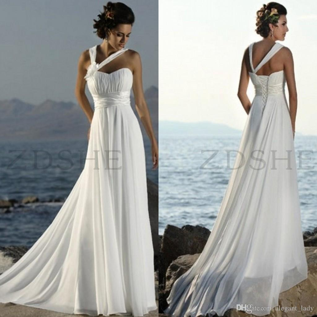 Discount Summer Beach Wedding Dresses Halter Pleated Empire Chiffon Sweep Train Lace Up Back Cheap Boho Country Bridal Gowns Custom Made Long Sleeve: Beach Wedding Dress Empire Dresses At Websimilar.org