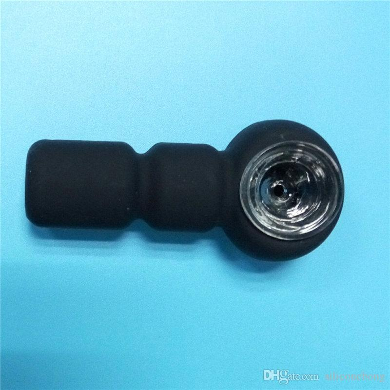 small bong with wholesale cheap price small silicone style bong Black colors water pipe with glass bowl