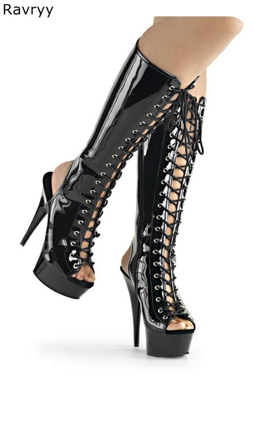 fb247e2b52b Autumn Lace Up Cross Tied Black Woman Long Boot Platform Heel Peep Toe  Women Knee High Boots Female Acting Show Club Party Shoes Leather Boots For  Women ...