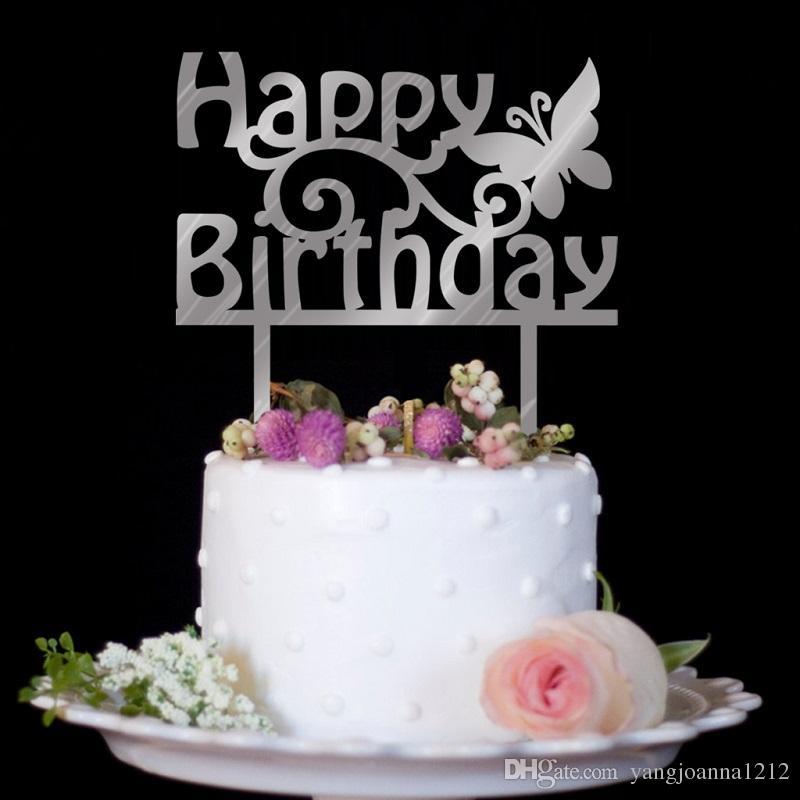 Wholesale Acrylic Happy Birthday Cake Topper Mirror Silver Gold