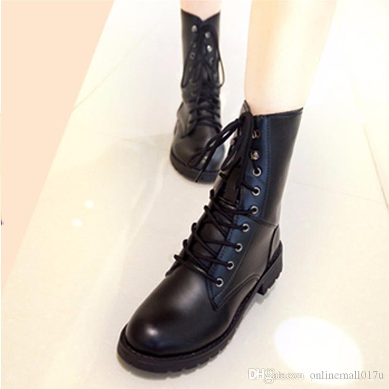 fde72bd182bc Women Boots Lace Up Flat Biker Military Army Combat Black Boots Shoes Woman  Botas Ug Australia Mujer Women Martin Boots Boot Socks Biker Boots From ...