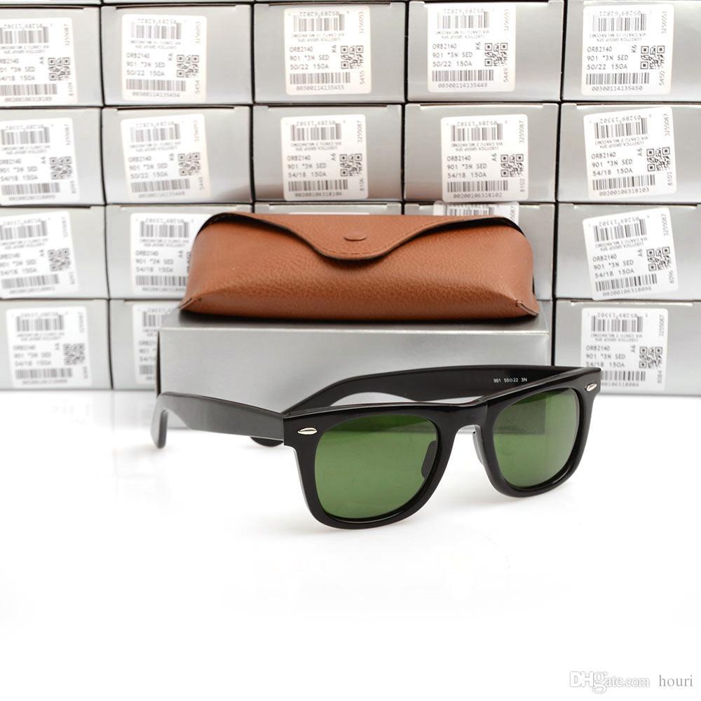 Hochwertige Plank Sonnenbrillen Schwarzer Rahmen Grüne Linse Sonnenbrillen Metallscharnier Sonnenbrillen Herren Sonnenbrillen Damen Brillen unisex Sonnenbrillen