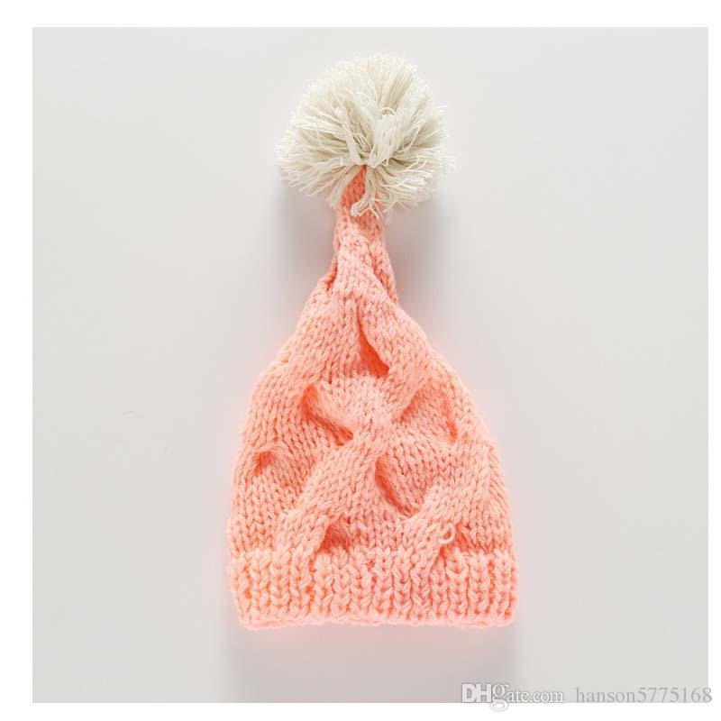 2019 Newborn Infant Hat Crochet Beanies Winter Pink White Hats Bonnet  Designer Headband Baby Headwear Photography Props From Hanson5775168 481fd9b1db5