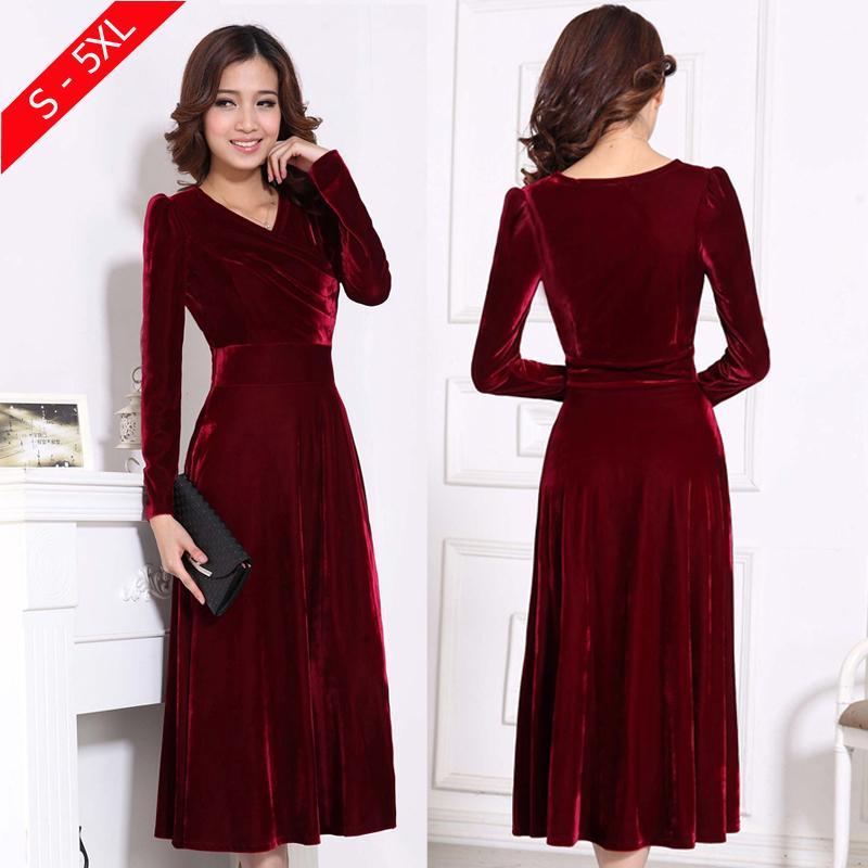 size 40 1a210 5718b Plus Size 4XL 5XL Abito invernale donna manica lunga con scollo a V Maxi  abiti in velluto elegante Abiti formale da donna rosso Abiti nero D18110604