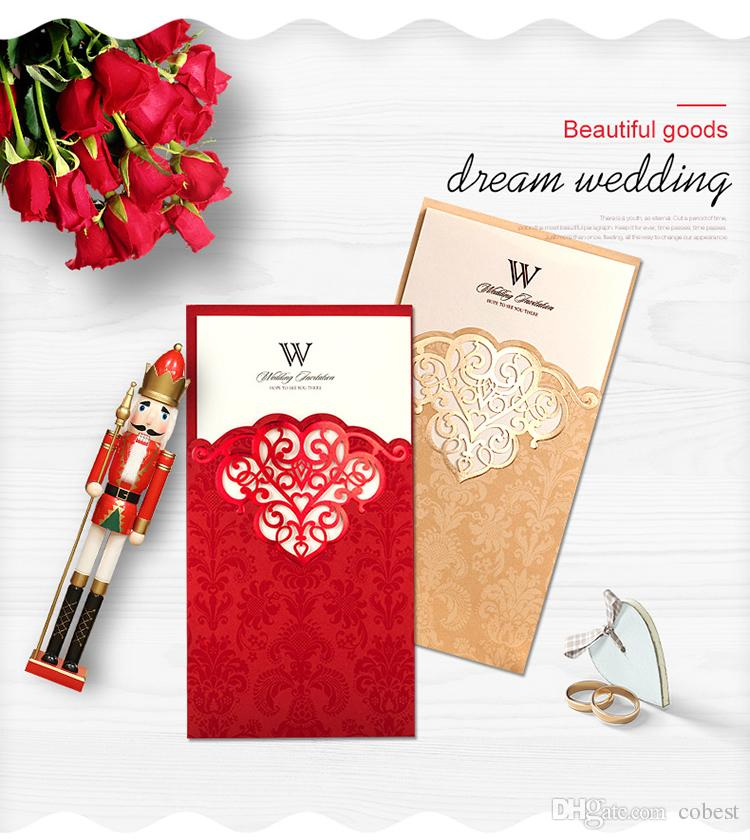Wedding Invitations Cards Red Gold Personalized Wedding Invitation