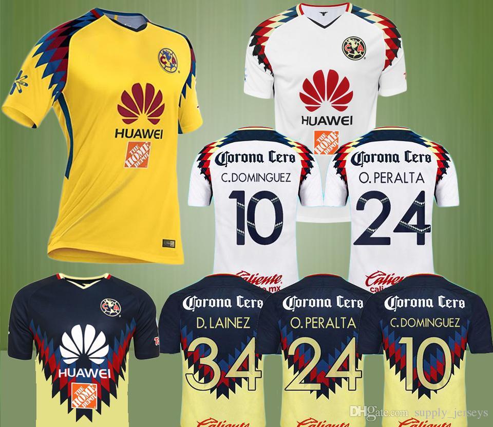 2019 18 19 LIGA MX Club America Soccer Jerseys 2018 I.RENATO C.DOMINGUEZ  MATHEUS Home Away Third Yellow 17 18 O.PERALTA Football Shirt Uniform From  ... dc5f96c31