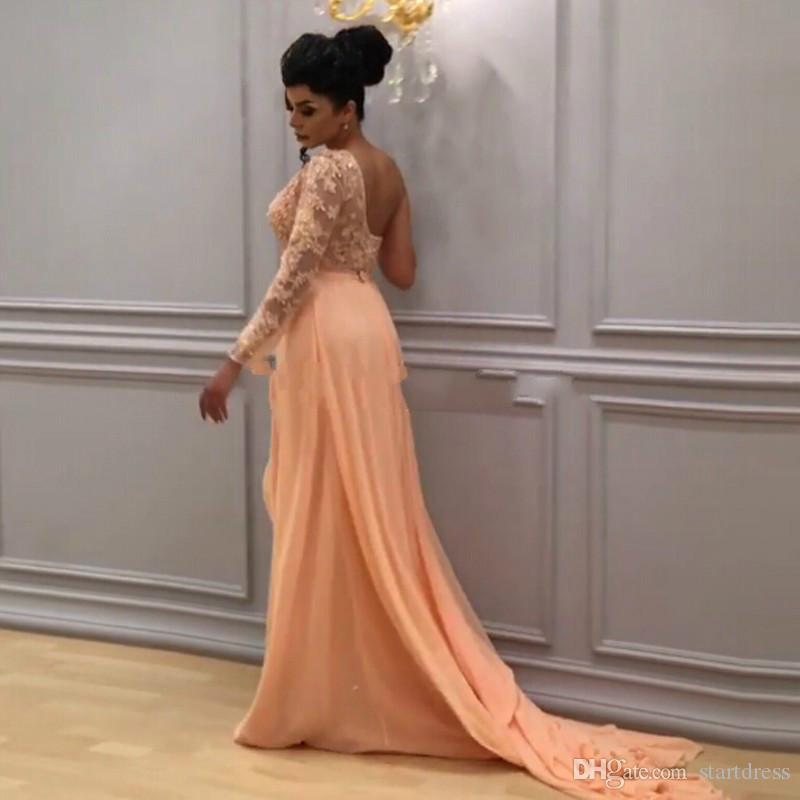 Elegant Peach One Shoulder Arabic Evening Dresses Top Illusion Lace Applique Formal party Prom Gowns Backless Chiffon Long Sleeve Cheap 2018