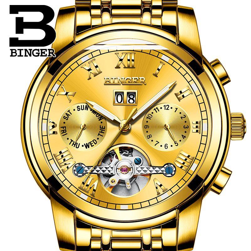 015bc768d6c Compre Top Marca Relógios BINGER Homens Relógio De Ouro De Luxo Relógio  Mecânico Automático Pulseira De Aço À Prova D  Água Frete Grátis Relogio  Masculino ...