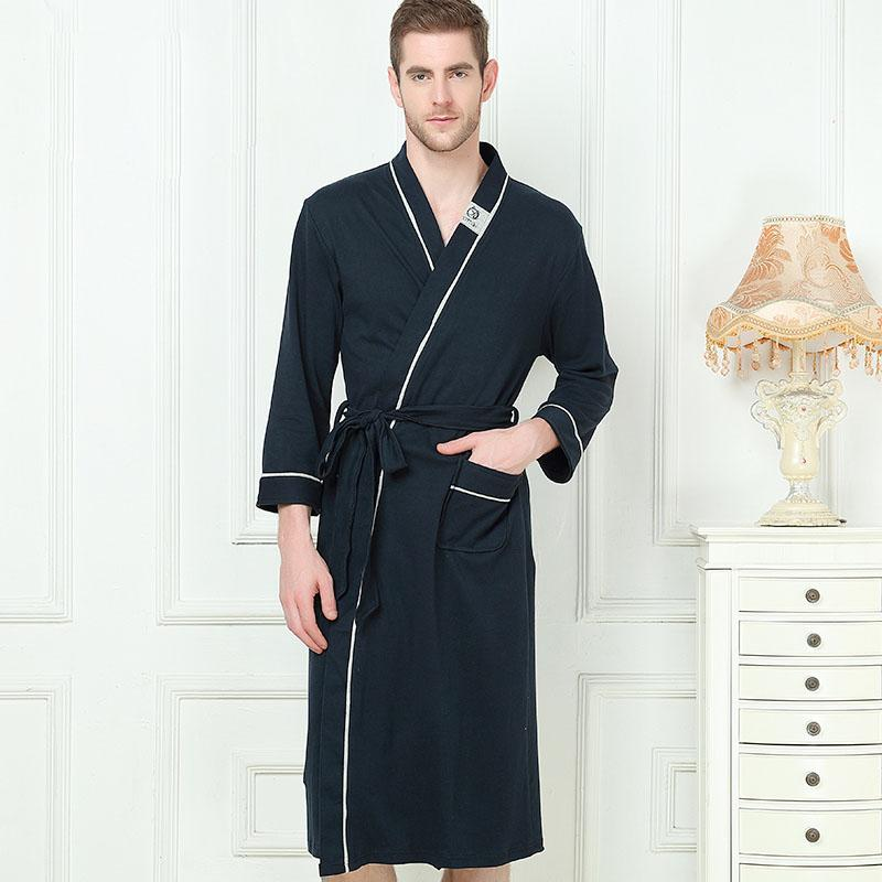 2019 XMS Brand 100% Cotton Men S Stain Robe Cotton Bathrobe Men Sleepwear  Modern Style Nightgown Satin Soft For Sleep Valentine S Day From Dayup 50b35f18f