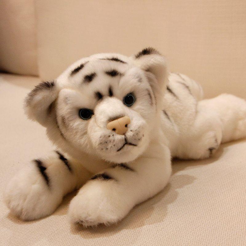2019 Simulation Animal White Tiger Plush Toy Realistic Lying Little