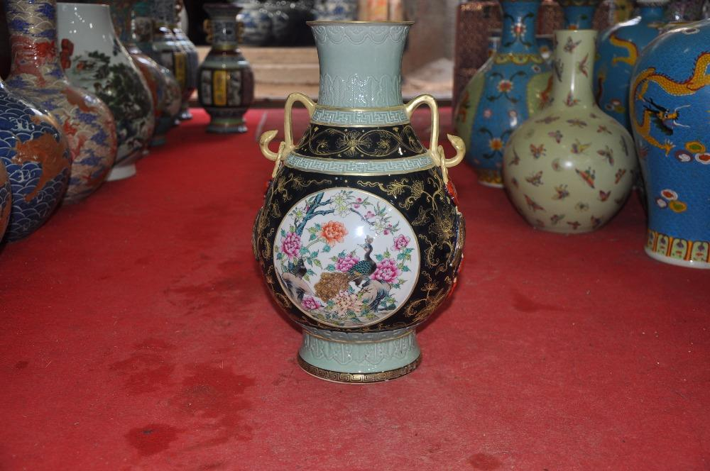 Chinese Antique Qing Dynasty Heavy Famille Rose Porcelain Vases Wall