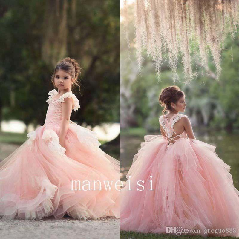 Pink Flower Girl Dresses for Wedding Pleated Organza Mini Cupcake Cute Kids Glitz Pageant Gowns with Satin Belt Jewel