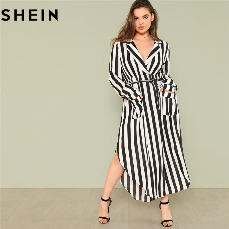 63a2accbab SHEIN Black And White Stripe V Neck Belted Plus Size Maxi Dress Spring Fall  Office Lady High Waist Split Side Striped Dresses White Dress For Teens Red  And ...