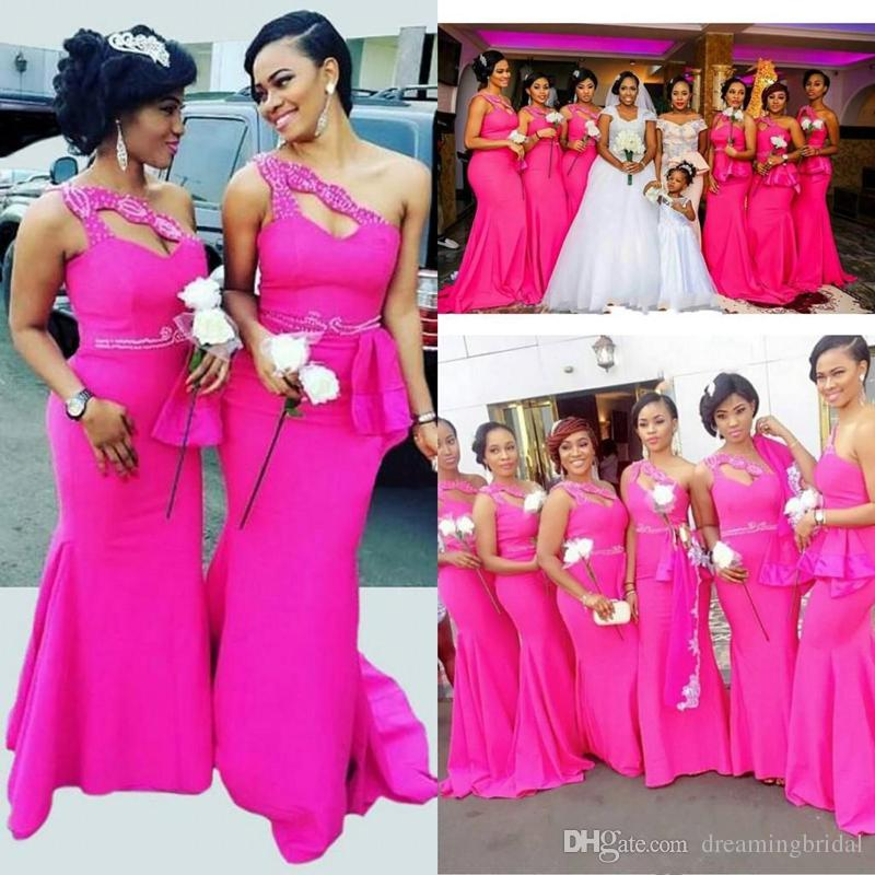 Bright Fuchsia One Shoulder Bridesmaid Dresses 2018 New African Long ...