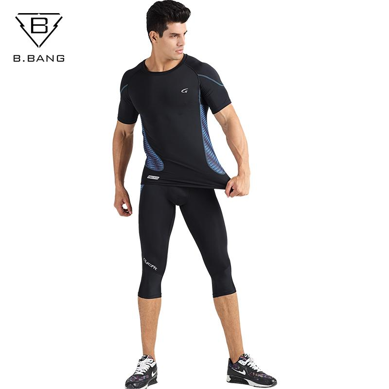 da386a5221ed4 B.BANG Men s Gym Running Fitness Sportswear Athletic Physical Training  Clothes Suits Workout Jogging Sports Clothing Tracksuit Trainning    Exercise Sets ...
