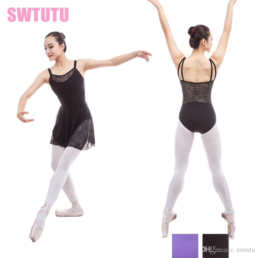 e55c31f46 2019 Adult Camisole Double Black Ballet Leotards Costumes With Lace ...