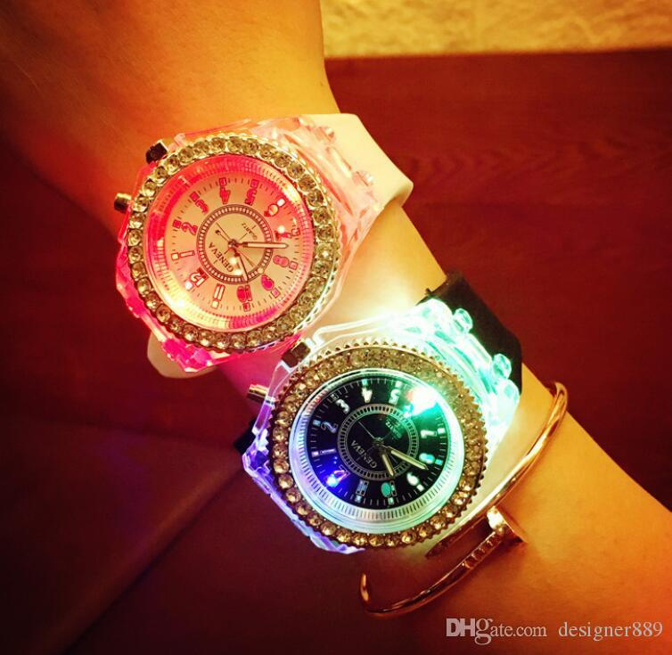 Luminous colorful LED GENEVA Wrist Watch Korean fashion watches unisex men and women fashion casual watches couple led watches