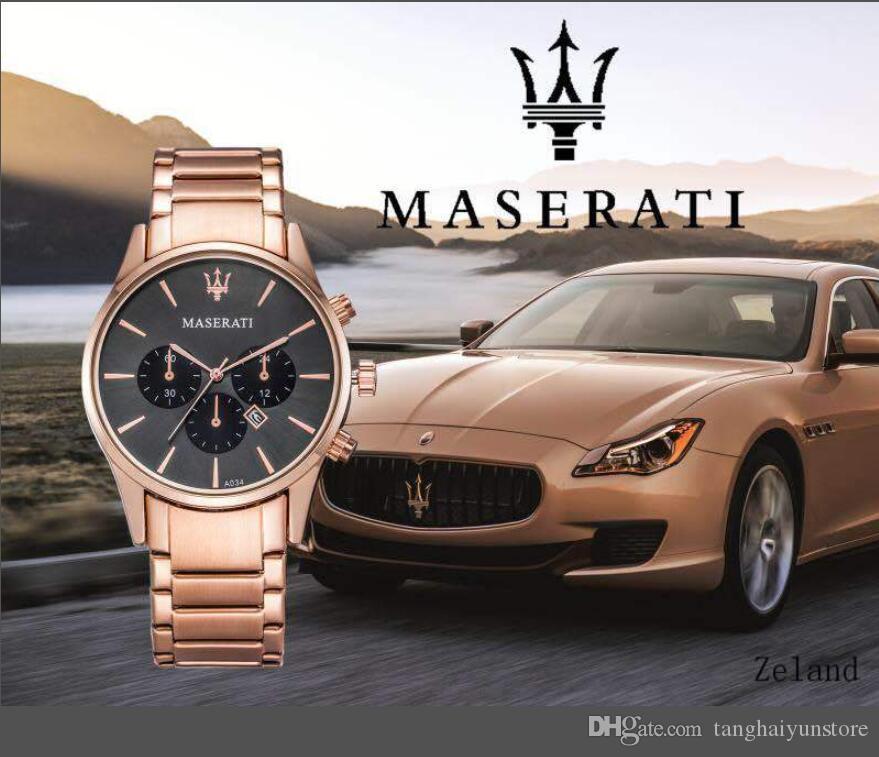 382d7e65376 Compre Maserati Homens Completa Relógios De Aço Nova Moda De Aço De Ouro  Assistir Homens Strass Relógios De Marca De Luxo Assistir Relógio De Quartzo  De ...