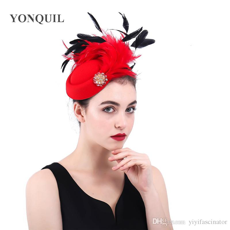 1b820369389 Vintage Red Feather Cocktail Fascinators Church Hats Bridal Wedding  Occasion Hair Accessories With Hair Clips Lady Fedora Hats SYF368 Ladies Hats  Online ...