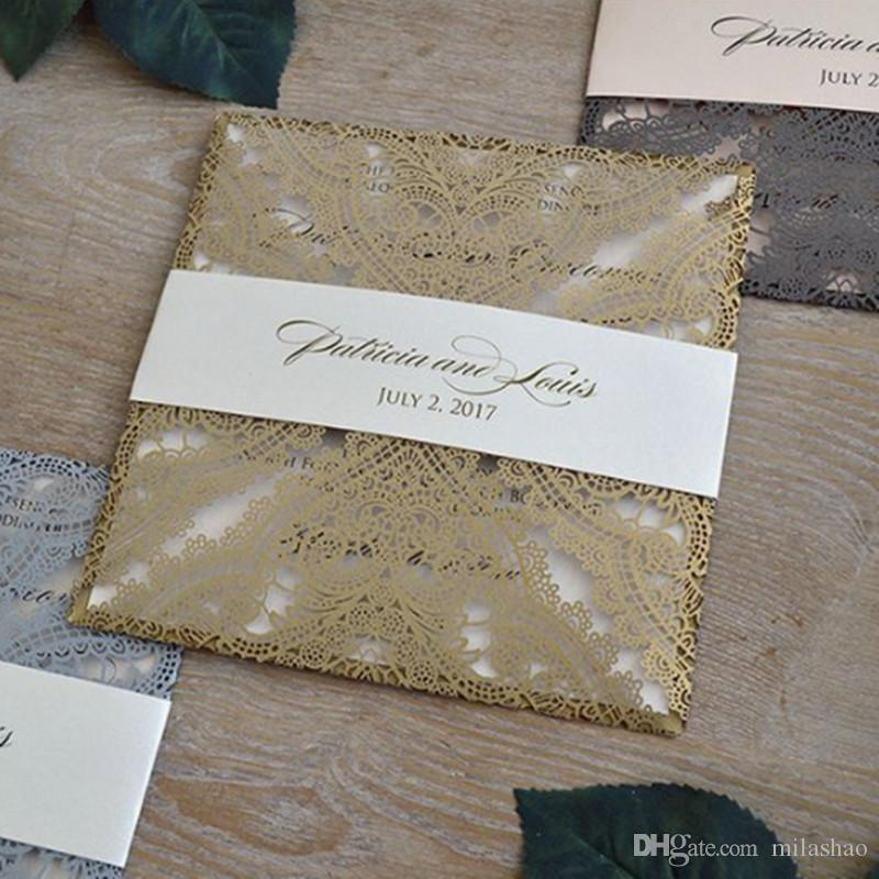 Gold invitation card stock with envelopes and insert cards lace laser cut blank invitation cards for grand event