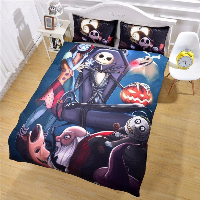 black color nightmare before christmas bedding sets duvet cover queen size 3d bedspreads bed covers twin full king king quilt cover sets cotton comforter - Nightmare Before Christmas Bedding Queen
