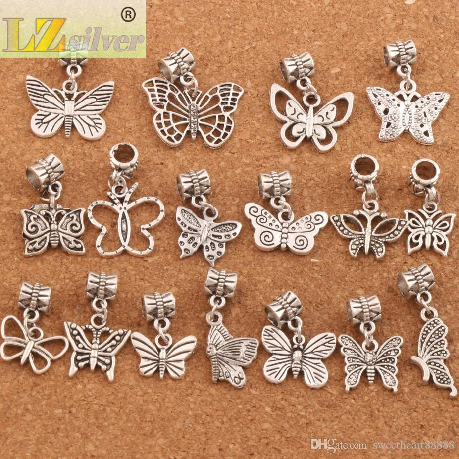 mixed Butterfly Dangle Big Hole Beads Tibetan Silve Fit Charm Bracelet Jewelry DIY Hot sell BM57