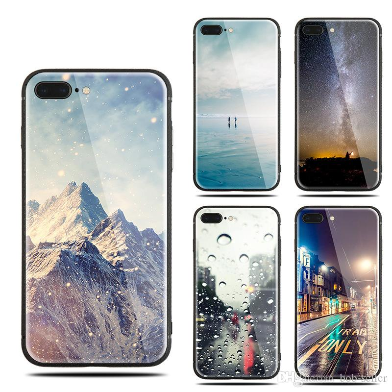 the latest 8ac0f 39395 For apple iphone X 8 plus 7 plus Soft cartoon TPU cell phone cases Colorful  Glossy Tempered Glass Hard Case Anti-scratch