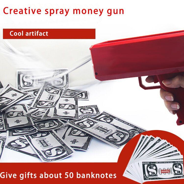 2019 Super homens Cash Cannon Money Gun Nova marca de dinheiro dólar conta arma Cash Launcher Cool red Car party Decorações de Interior Frete Grátis