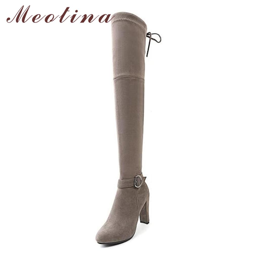 a5656afdfc8 Meotina Thigh High Boots Over The Knee Boots Women Winter Zipper Sexy  Buckle High Heel Bow Ladies Shoes Autumn Gray Red Shoes Footwear From  Meledy