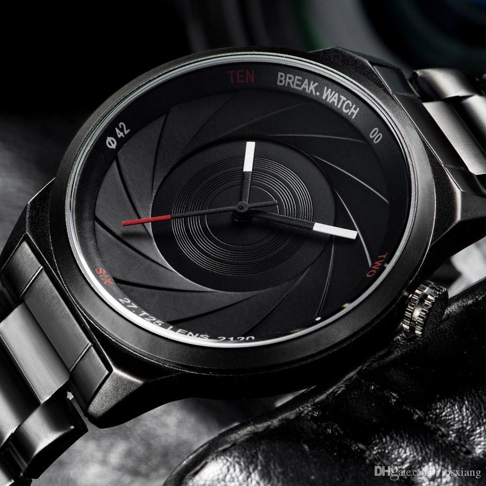 f332c516671 Compre Unisex Luxuoso Relógio De Quartzo Esportes Pulseira De Aço  Inoxidável Preto Militar Relógios Câmera Forma Do Obturador Série Fotógrafo  Relógio De ...